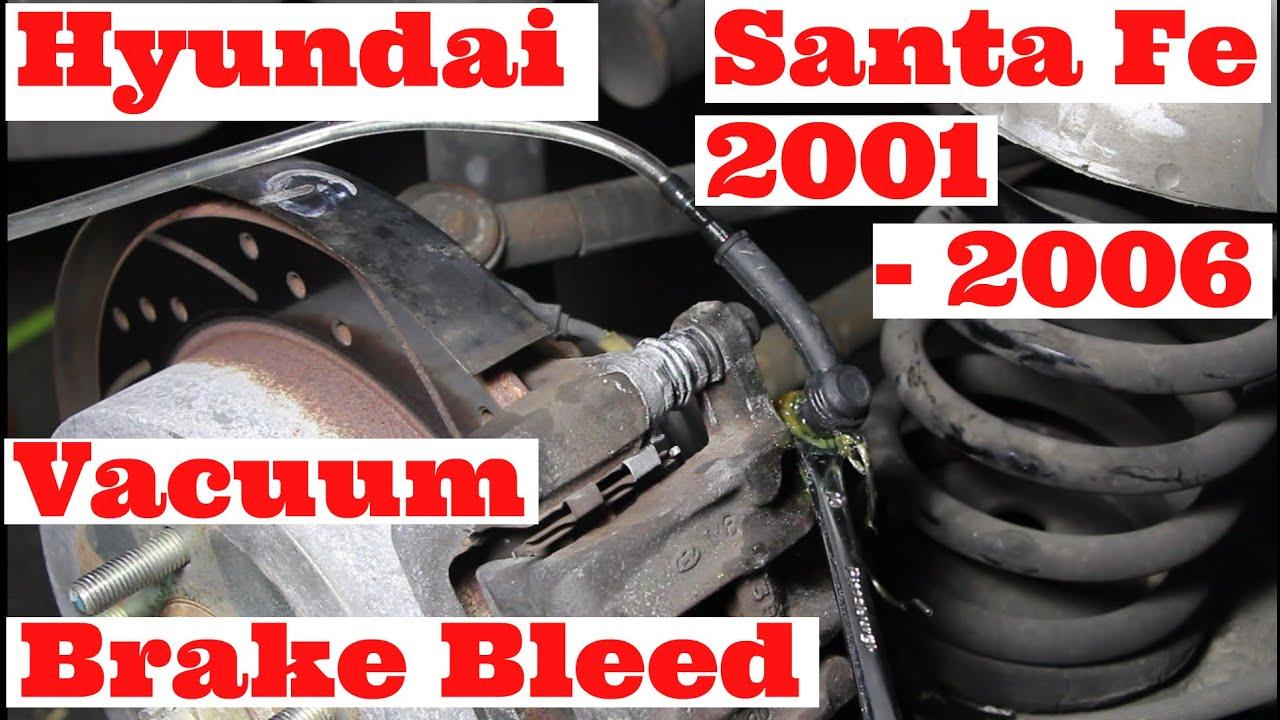 Dot 5 Brake Fluid >> Hyundai Santa Fe 2001-2006 3.5 Liter Six Cylinder AWD/4WD Hydraulic Brake System Bleeding - YouTube