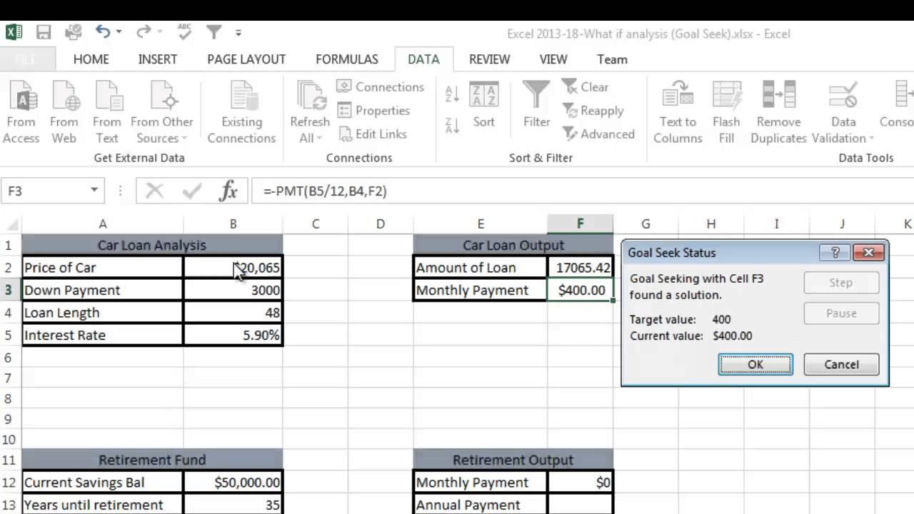 Excel 2013 Tutorial 18: What If Analysis (Goal Seek)