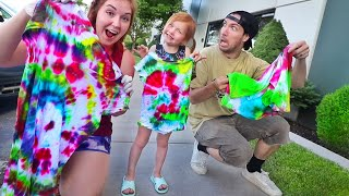 Adley learns how to Tie-Dye!! Surprise mom and dad with new clothes