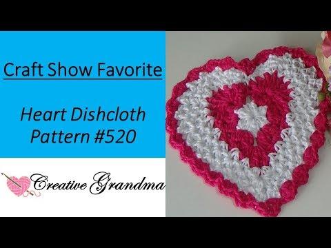 Heart Dishcloth (CROCHET TUTORIAL)  Premier Home Cotton Yarn – Pattern #520