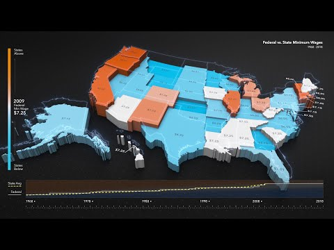 Animated Maps: Federal vs State Minimum Wages