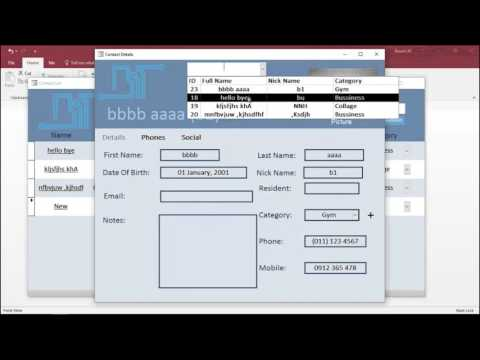 Phonebook Access Database - YouTube