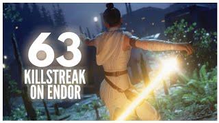 63 Rey Killstreak on Endor // Star Wars Battlefront 2 Galactic assault Gameplay