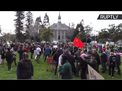 Thumbnail: Scuffles, fistfights erupt as pro and anti-Trump rallies clash in Berkeley