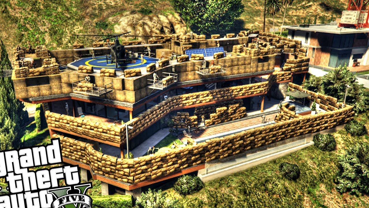 Epic military base at franklin 39 s house gta 5 pc mod for What is a shouse house
