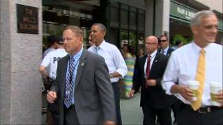 AP- Obama slips out of White House, hops to coffee shop