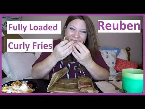 Arby's - Reuben Sandwich & Fully Loaded Curly Fries: MUKBANG