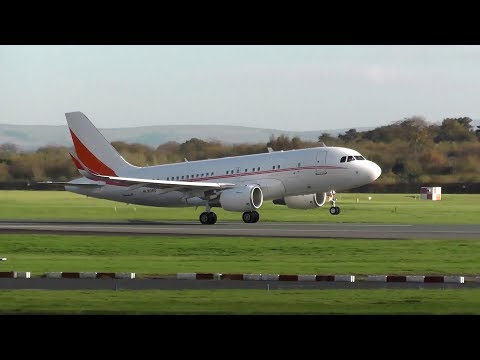 SK Telecom Airbus A319 Corporate Jet HL8080 Takeoff from Manchester Airport