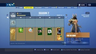 "BUYING ALL SEASON 7 BATTLE PASS TIERS IN FORTNITE (Spending 13,000 V-Bucks for ""ICE KING"" SKIN)"