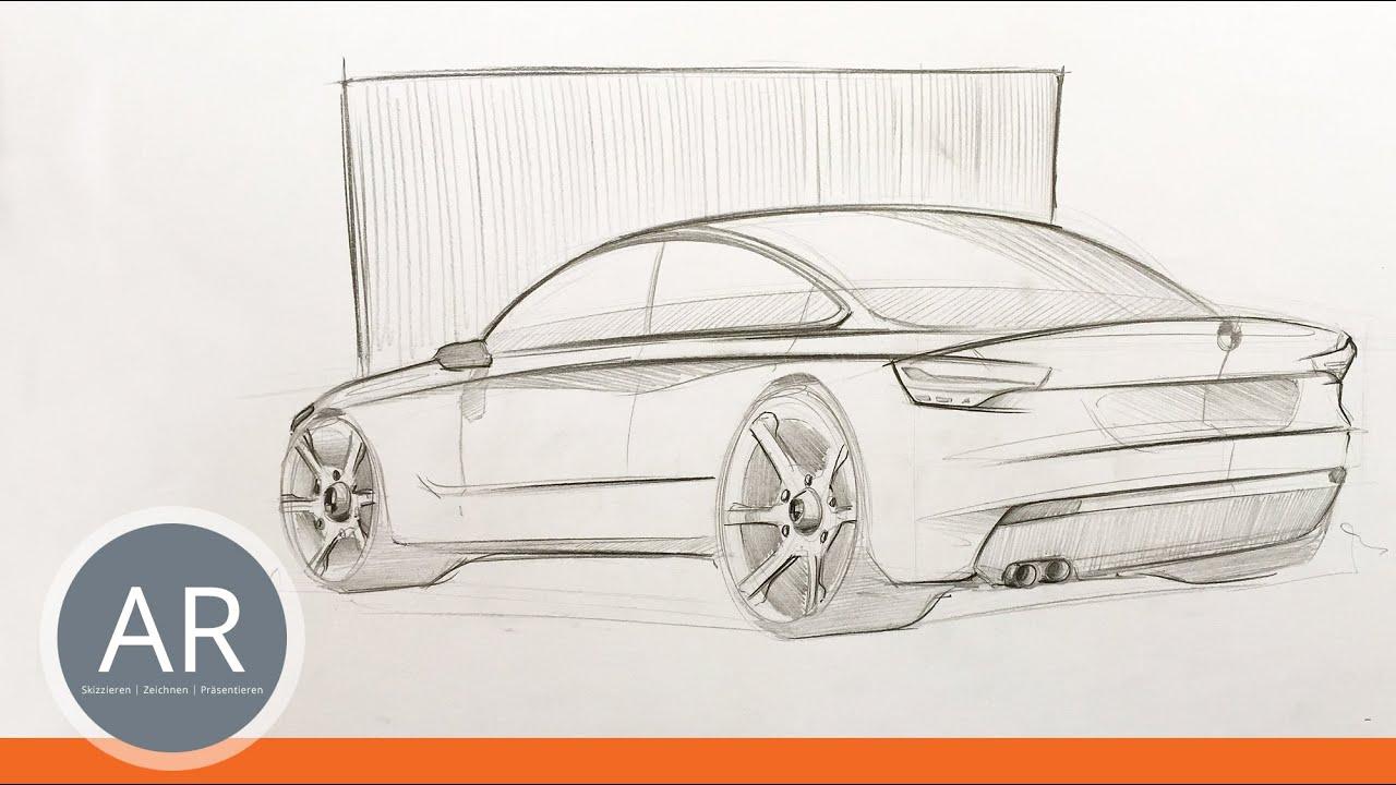 Autos zeichnen lernen. Dynamische Bleistiftskizze ...