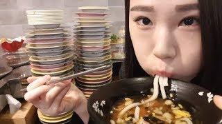 초밥 몇 접시 먹었을까? 먹방 Mukbang eating show