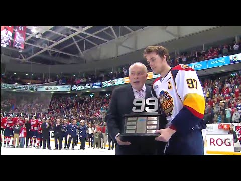 Connor McDavid Receives The Wayne Gretzky 99 Trophy