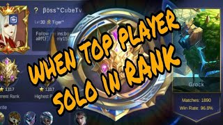 When global 1 (boss cube TV )solo in rank .and get epic players in his team....by it's gaming.