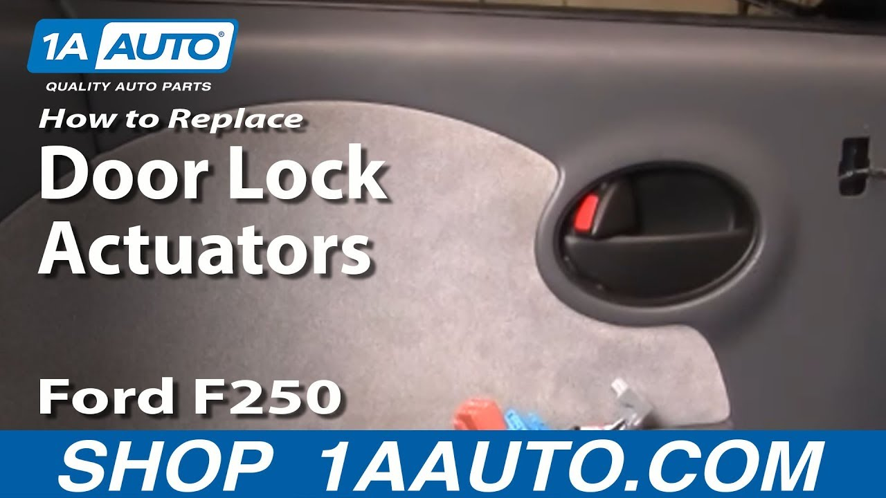 how to replace install broken power door lock actuator ford f250 f350 super duty 99 07 1aauto com youtube [ 1920 x 1080 Pixel ]