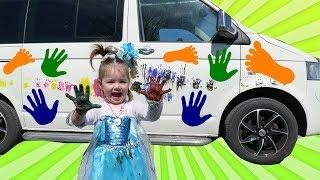 Baby  Alice Frozen Fingerpaint Footprints on car?? w/ Frozen Elsa, Spiderman, Minions, Mcdonalds