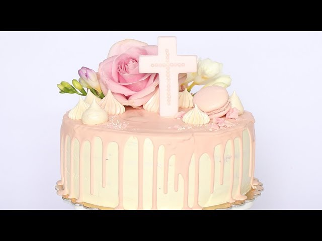 Tort Komunijny Chrzcinowy Z Zywymi Kwiatami 1 Youtube