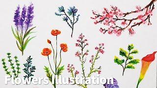 꽃 일러스트 그리기 (스티커), Drawing Flow…