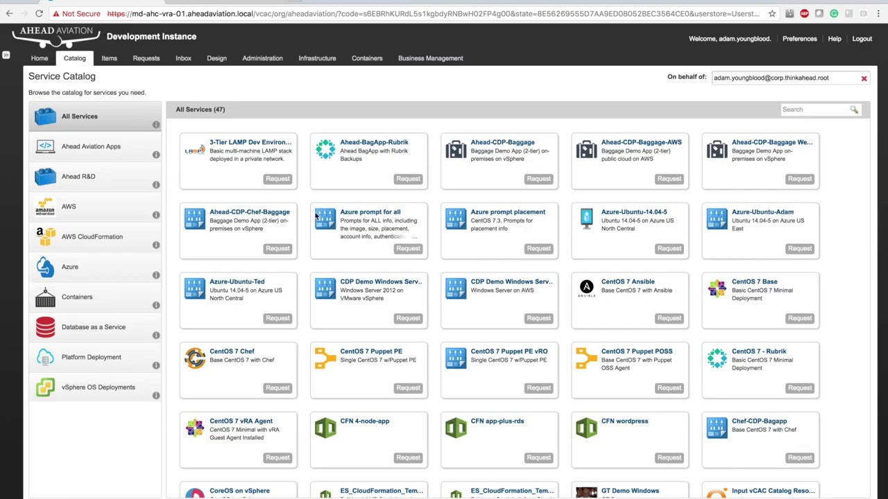 High Level Look of vRealize Automation and Azure
