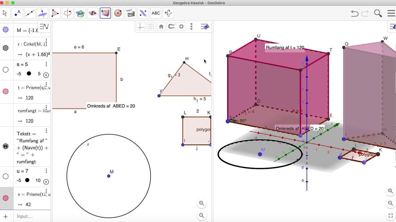 Konstruktion af kasse, prisme og cylinder i Geogebra