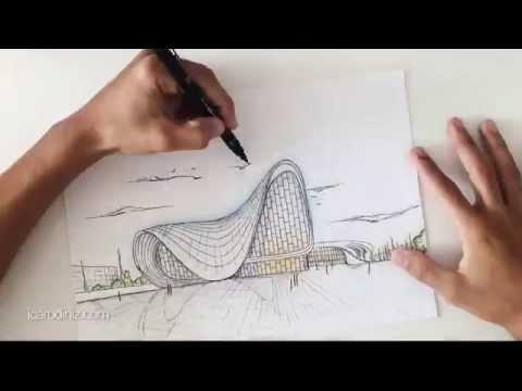 Heydar Aliyev Cultural Center, Zaha Hadid - Desenho à Mão Livre 005