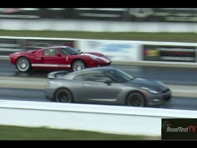 Tuned Gt R Vs  Hp Ford Gt Drag Race Video Road Test Tv