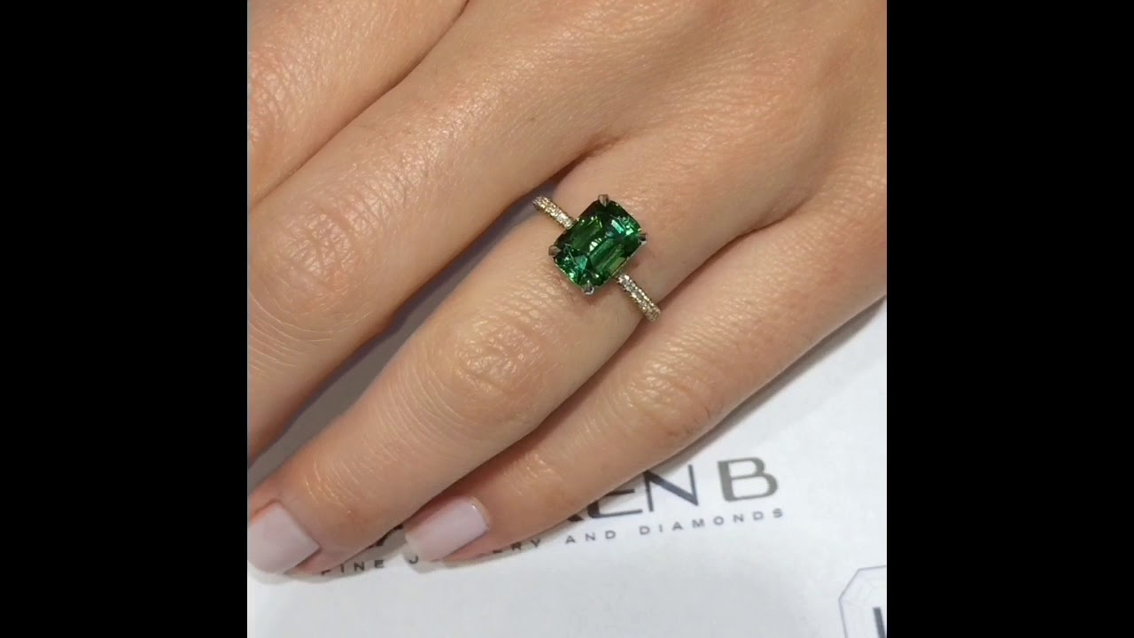 engagement gemstone green halo tourmaline cut cocktail emerald diamond ring rings with