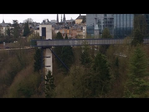 Descending into Luxembourg on a glass elevator
