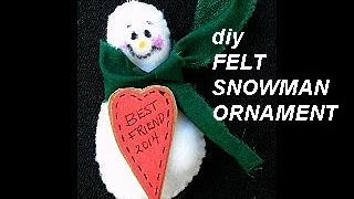 Diy Little Felt Snowman Ornament, Christmas Tree Ornament, Holiday Decoration, Easy Sewing Project
