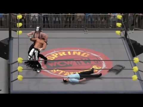 Randy Savage vs WCW NWO Sting Spring Stampede 98 WWE 2K17 simulation with real commentary