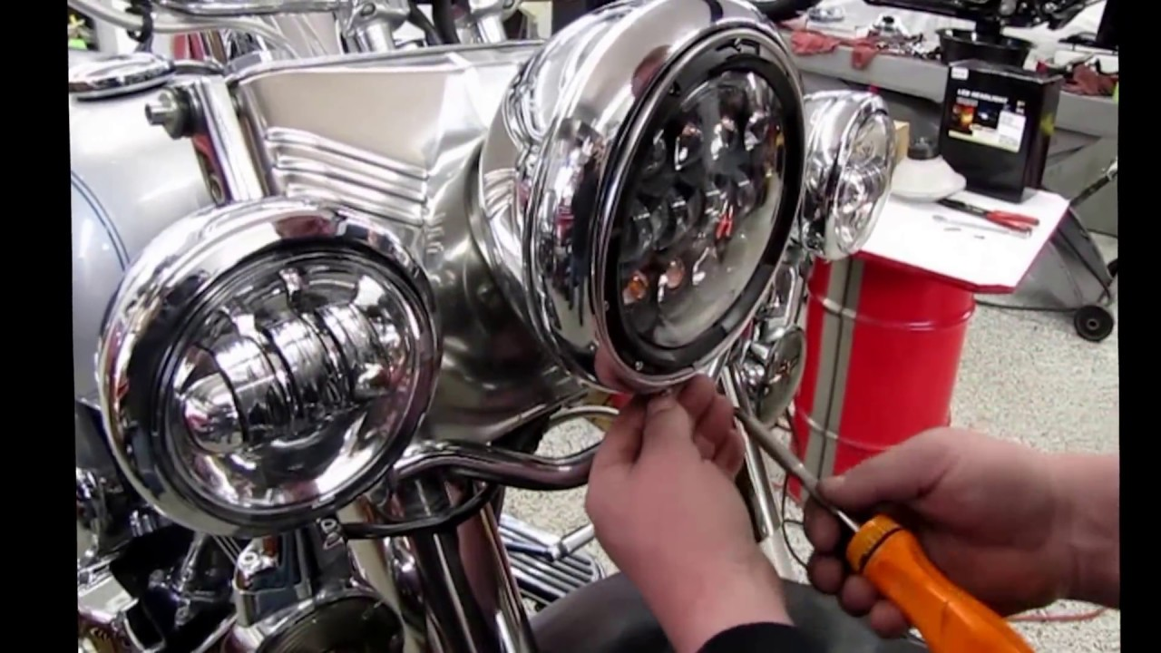 How to install Cyron ABIG7 series LED headlight on a Harley Fatboy Harley Davidson Fatboy Headlight Wiring Diagram on