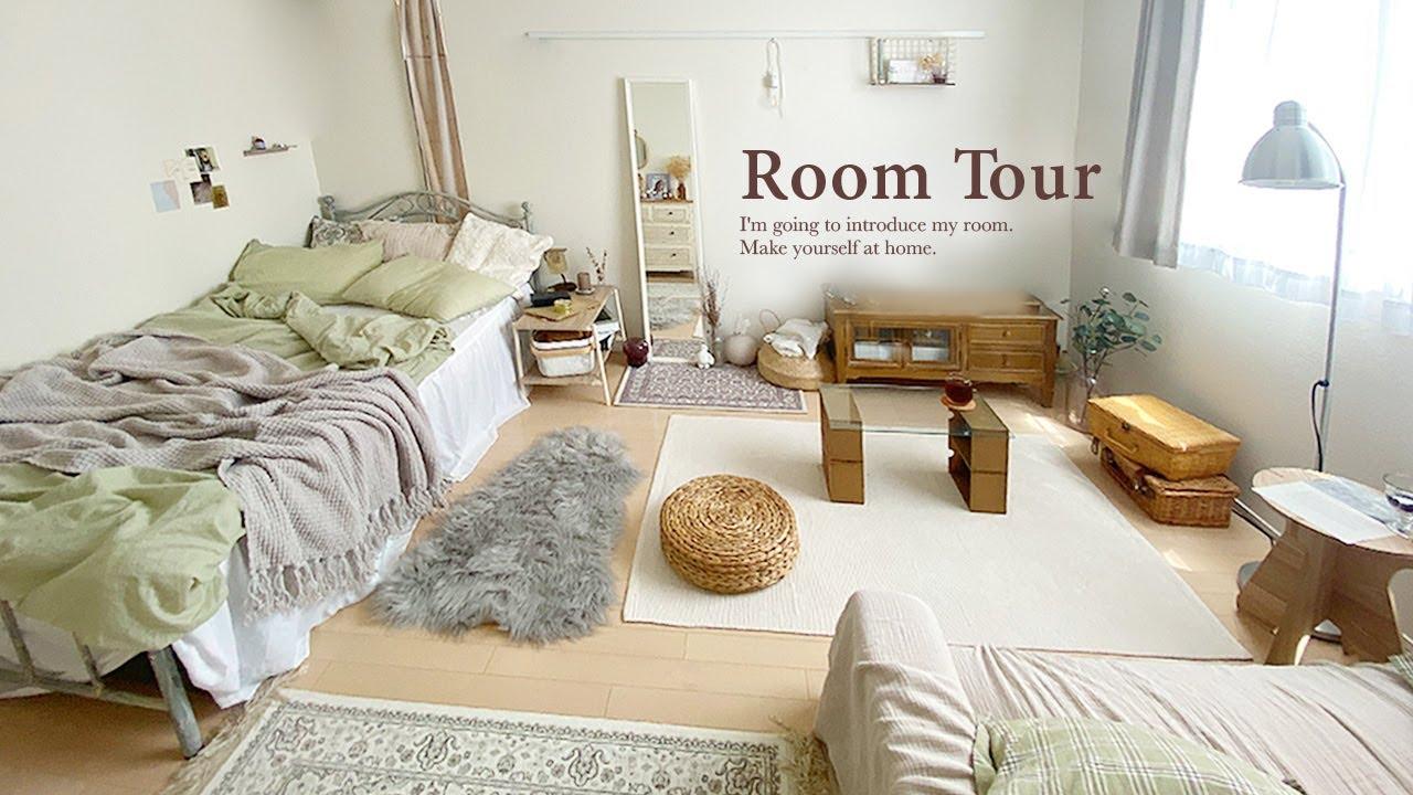【ルームツアー】ワンルーム・7.5畳 工夫された1人暮らしの部屋づくりと収納|ナチュラルインテリアとアンティーク小物 1R ニトリ・IKEA Japanese  room tour