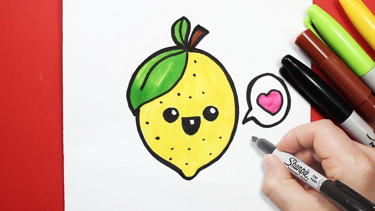 رسم ليمونة كيوت بالرصاص والخطوات رسم كيوتات تعليم الرسم للاطفال Youtube