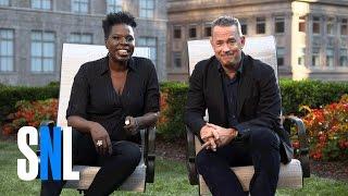 SNL Host Tom Hanks Tells Leslie Jones What Outer Space is Like