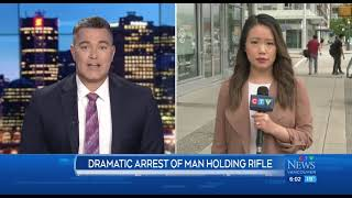 Dramatic arrest of man holding airsoft gun