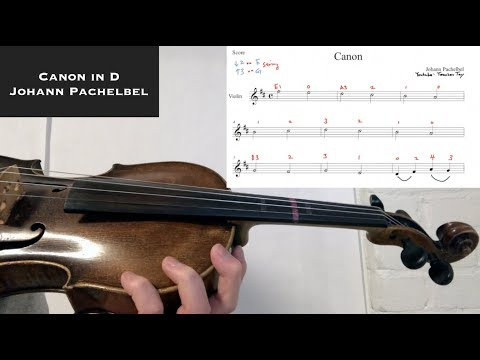 How to Play Canon in D on Violin Sheet Music w. Violin Tabs