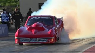 BK RACE ENGINES TWIN TURBO V8 CORVETTE 6.08 @ 242 MPH SYDNEY DRAGWAY 26.7.2015