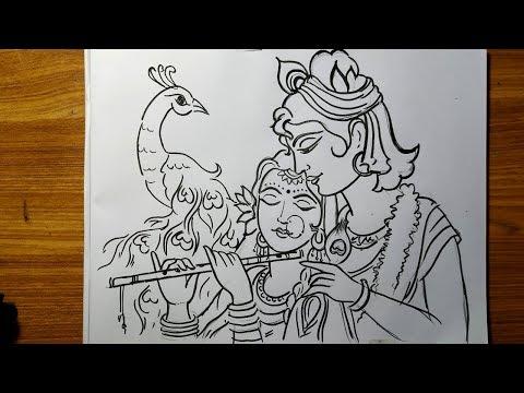 very-easy-line-art-krishna-and-radha,krishna-thakur-drawing,how-to-draw-lord-krishna,gopal-thakur