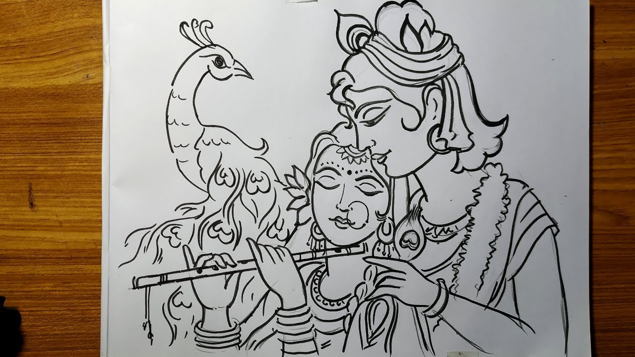 Very Easy Line Art Krishna And Radha Krishna Thakur Drawing How To Draw Lord Krishna Gopal Thakur Youtube