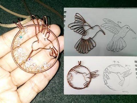 hummingbird with flowers pendant - nature jewelry - handmade jewelry design 277
