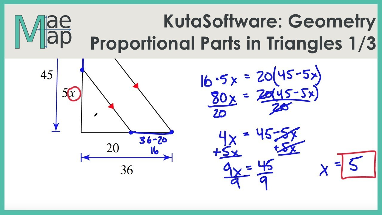 kutasoftware geometry proportional parts in triangles and parallel