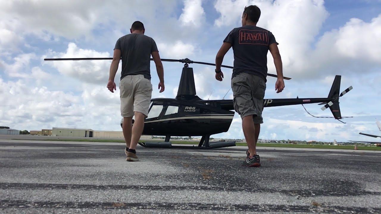 Взлет вертолета Robinson Р-44 - YouTube