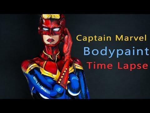 Captain marvel (Carol) Bodypaint Time Lapse