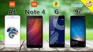Xiaomi mi a1 vs Xiaomi Redmi note 4 VS Tenor G VS Honor 9i - Comparison   Tamil Tech