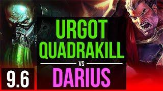 URGOT vs DARIUS (TOP) | Quadrakill, 3 early solo kills, 600+ games, KDA 15/2/6 | TR Diamond | v9.6