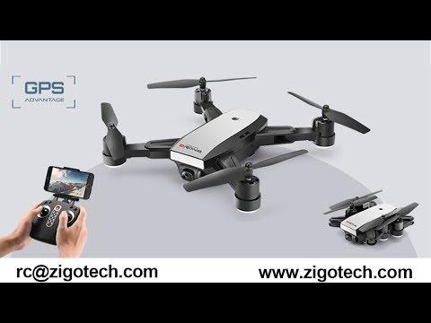 ZIGO TECH GPS folder DRONE 720P CAMERA WIFI FPV DRONE 2018 NEW LH-X28 UNBOXING REVIEW