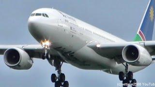 Air Namibia Airbus A330 Landing. Frankfurt Airport Plane Spotting. Flight SW285 reg V5-ANP