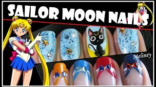 HALLOWEEN NAILS | SAILOR MOON NAIL ART DESIGN ANIME CARTOON FRENCH TIP MANICURE TUTORIAL
