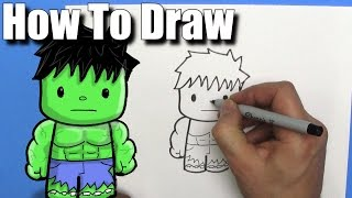 How To Draw a Cute Cartoon Hulk - EASY Chibi - Step By Step - Kawaii