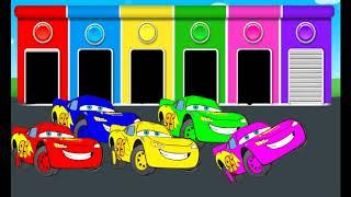 Цветные гаражи & Молния & Учим цвета & мультики п...