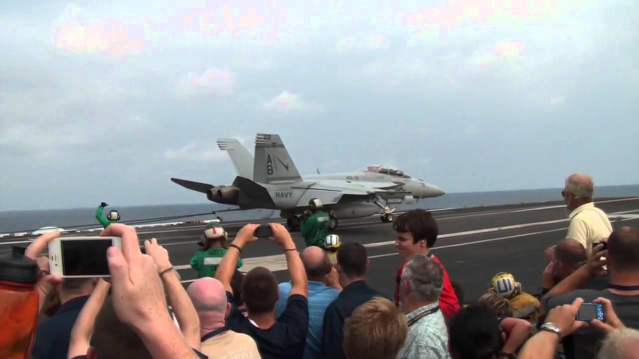 F/A-18 Super Hornets Landing On Aircraft Carrier - USS ...